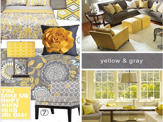 رنگ زرد و طوسی در طراحی